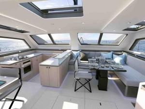 Mar Abierto - Interiores modernos y funcionales en este catamarán de Privilege,